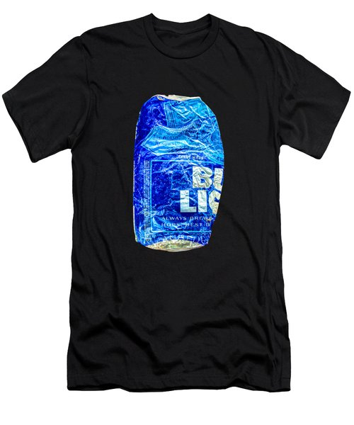 Crushed Blue Beer Can On Plywood Men's T-Shirt (Athletic Fit)
