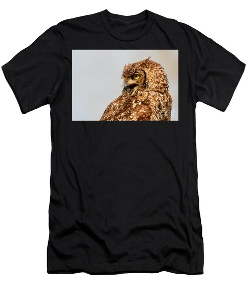 Men's T-Shirt (Athletic Fit) featuring the photograph Crying Spotted Eagle-owl  by Nick Biemans