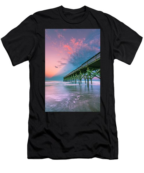 Men's T-Shirt (Athletic Fit) featuring the photograph Crystal Beach Pier Sunset In North Carolina by Ranjay Mitra