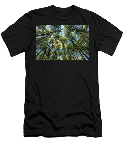 Men's T-Shirt (Athletic Fit) featuring the photograph Crystal Lake Il Pine Grove And Sky by Tom Jelen