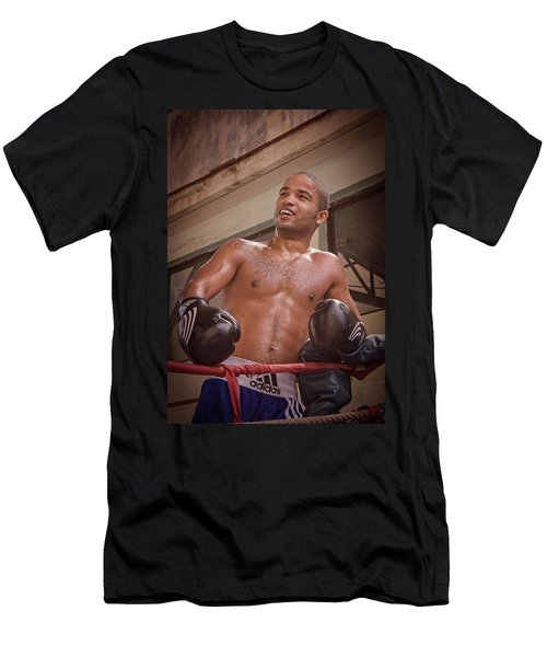Men's T-Shirt (Slim Fit) featuring the photograph Cuban Boxer Ready For Sparring by Joan Carroll
