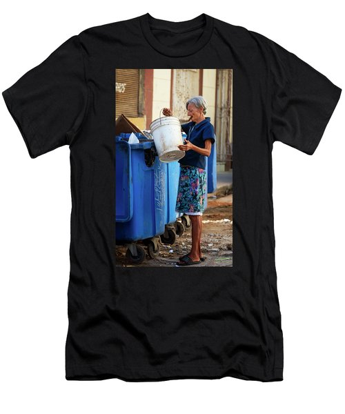 Men's T-Shirt (Slim Fit) featuring the photograph Cuban Woman With Cigar by Joan Carroll