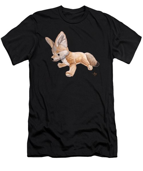 Men's T-Shirt (Athletic Fit) featuring the painting Cuddly Snow Fox by Angeles M Pomata