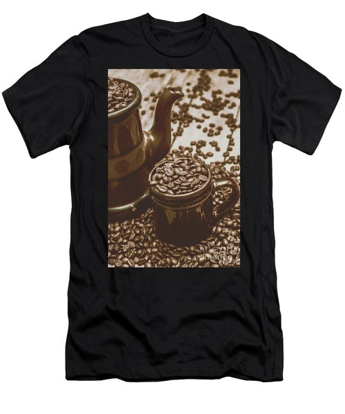 Cup And Teapot Filled With Roasted Coffee Beans Men's T-Shirt (Athletic Fit)
