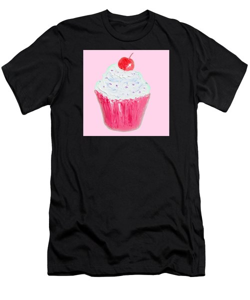 Cupcake Painting On Pink Background Men's T-Shirt (Athletic Fit)