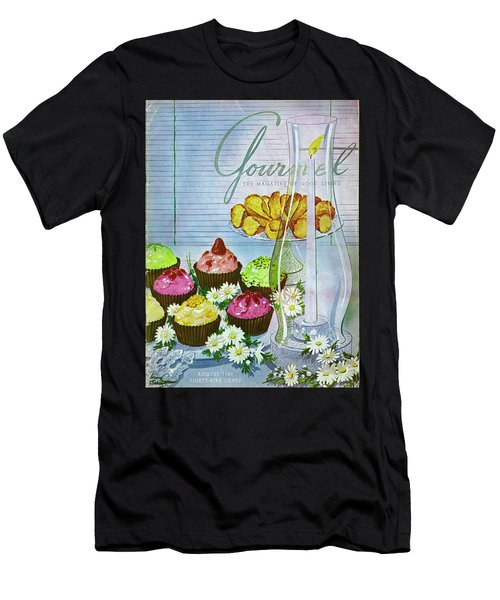 Cupcakes And Gaufrettes Beside A Candle Men's T-Shirt (Athletic Fit)