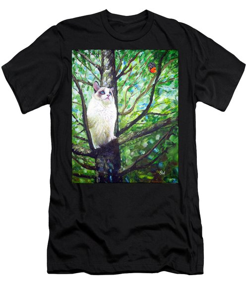 Curious Cat Men's T-Shirt (Athletic Fit)