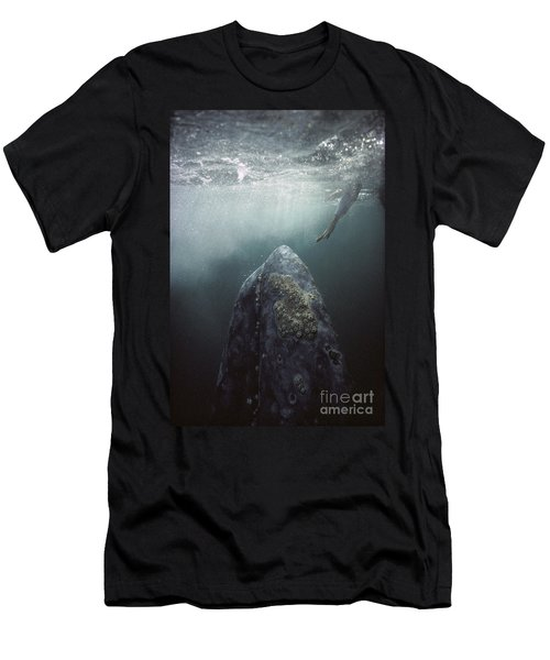 Men's T-Shirt (Athletic Fit) featuring the photograph Curious Gray Whale And Tourist by Tui De Roy