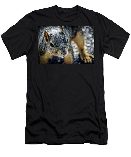 Men's T-Shirt (Slim Fit) featuring the photograph Curious Squirrel by Joann Copeland-Paul