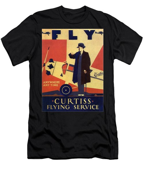 Curtiss Flying Service - Art Deco Poster - Vintage Advertising Poster  Men's T-Shirt (Athletic Fit)