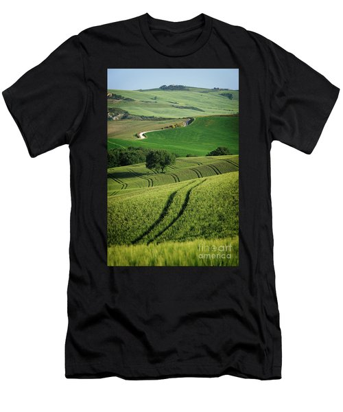 Men's T-Shirt (Athletic Fit) featuring the photograph Curvy Lines In Tuscany by IPics Photography