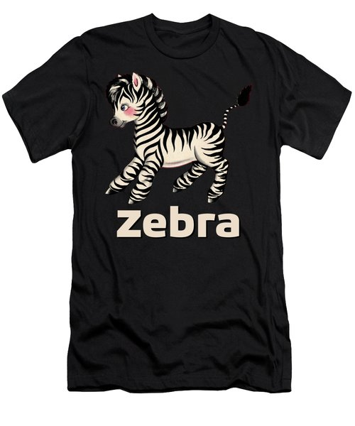 Cute Baby Zebra Pattern Vintage Book Illustration Pattern Men's T-Shirt (Athletic Fit)