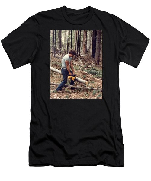 Cutting Wood In Blue Canyon Men's T-Shirt (Slim Fit)