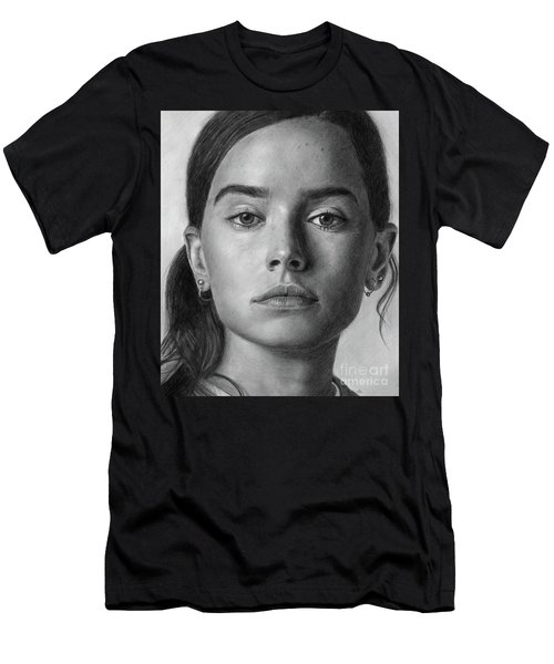 Daisy Ridley Pencil Drawing Portrait Men's T-Shirt (Athletic Fit)