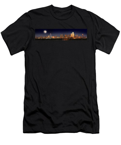 Dallas Skyline At Dusk Big Moon Night  Men's T-Shirt (Athletic Fit)