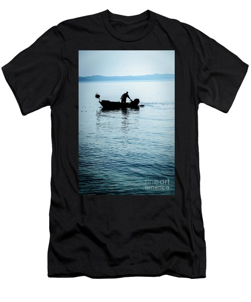 Dalmatian Coast Fisherman Silhouette, Croatia Men's T-Shirt (Athletic Fit)