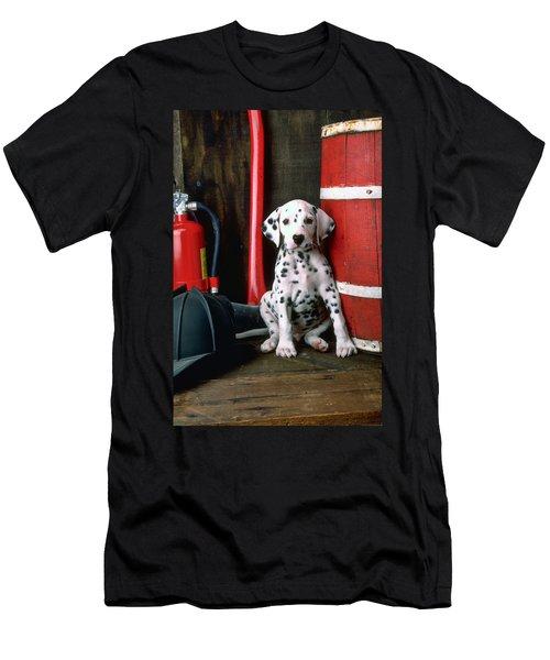 Dalmatian Puppy With Fireman's Helmet  Men's T-Shirt (Slim Fit) by Garry Gay