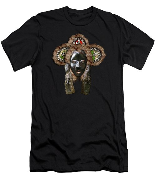 Dan Dean-gle Mask Of The Ivory Coast And Liberia On Red Velvet Men's T-Shirt (Athletic Fit)