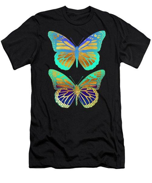 Danaus Plexippus Psychedelicus I, Pop Art Gold Psychedelic Butterflies Men's T-Shirt (Athletic Fit)