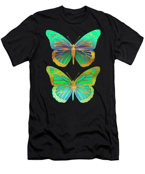 Danaus Plexippus Psychedelicus II, Pop Art Gold Psychedelic Butterflies Men's T-Shirt (Athletic Fit)