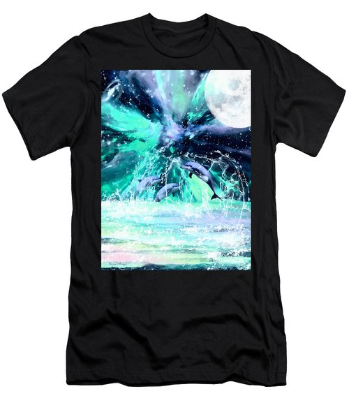 Dancing Dolphins Under The Moon Men's T-Shirt (Athletic Fit)