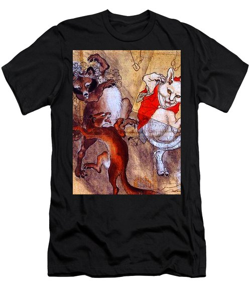 Japanese Meiji Period Dancing Feral Cat With Wild Animal Friends Men's T-Shirt (Athletic Fit)