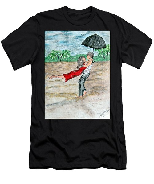 Dancing In The Rain On The Beach Men's T-Shirt (Athletic Fit)