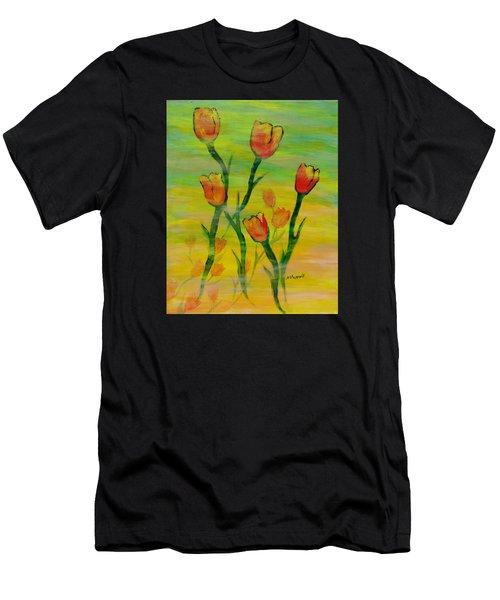 Dancing Tulips Men's T-Shirt (Athletic Fit)