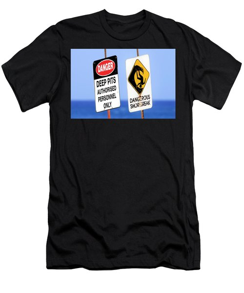 Dangerous Surf Warning Signs At Pipeline On Oahu's North Shore.  Men's T-Shirt (Athletic Fit)