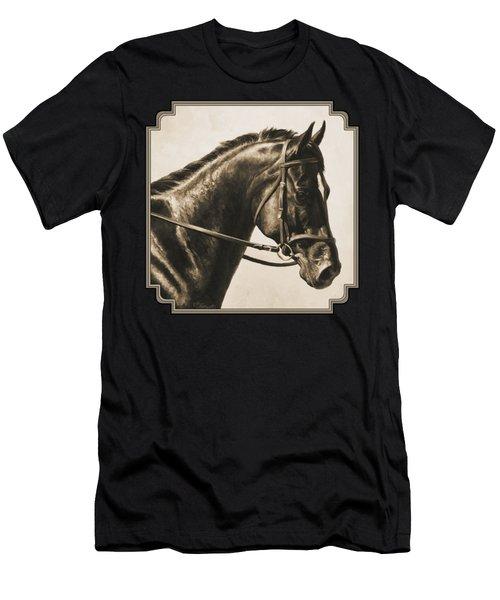 Dark Bay Dressage Horse Aged Photo Fx Men's T-Shirt (Athletic Fit)