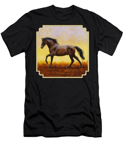 Dark Bay Running Horse Yellow Men's T-Shirt (Athletic Fit)