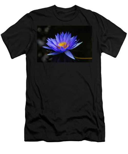 Dark Blue Water Lily Men's T-Shirt (Athletic Fit)