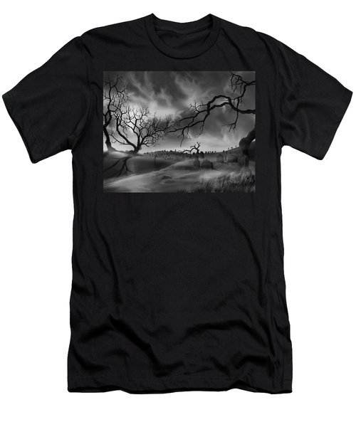 Men's T-Shirt (Slim Fit) featuring the painting Dark Cemetary by James Christopher Hill