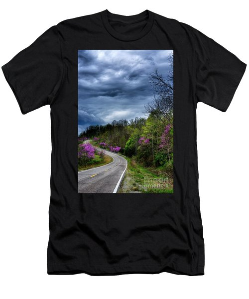 Men's T-Shirt (Slim Fit) featuring the photograph Dark Clouds Over Redbud Highway by Thomas R Fletcher