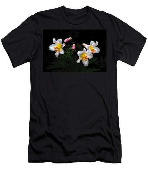 Men's T-Shirt (Slim Fit) featuring the photograph Dark Day Bright Lilies by Byron Varvarigos