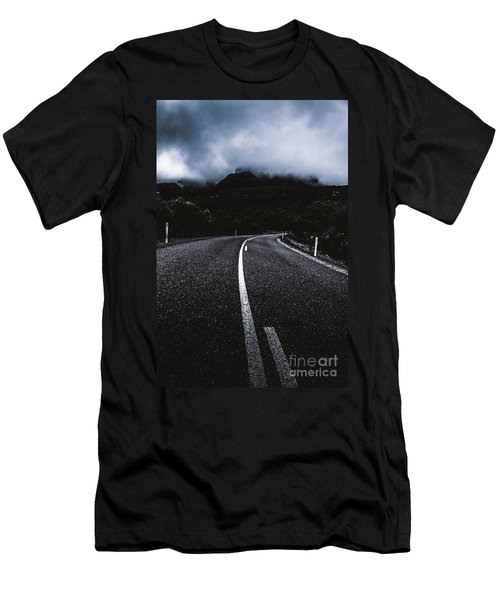 Dark Dramatic Blue Road Through Sinister Mountains Men's T-Shirt (Athletic Fit)
