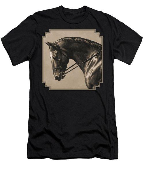 Dark Dressage Horse Aged Photo Fx Men's T-Shirt (Athletic Fit)