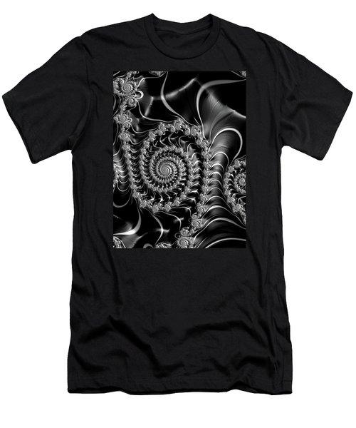 Dark Spirals - Fractal Art Black Gray White Men's T-Shirt (Athletic Fit)