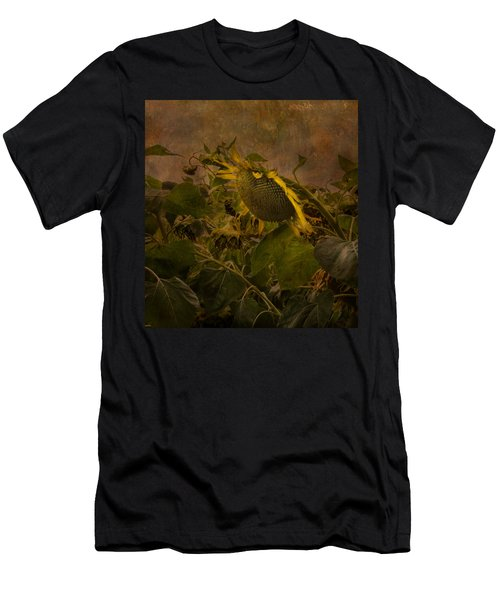 Dark Textured Sunflower Men's T-Shirt (Athletic Fit)
