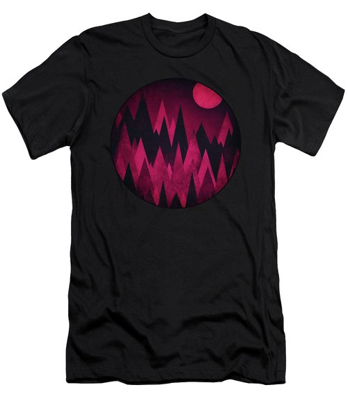 Dark Triangles - Peak Woods Abstract Grunge Mountains Design In Red Black Men's T-Shirt (Athletic Fit)