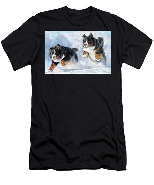Men's T-Shirt (Athletic Fit) featuring the painting Dashing Through The Snow by Donna Mulley