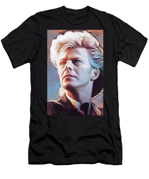 Men's T-Shirt (Slim Fit) featuring the painting David Bowie Artwork 2 by Sheraz A