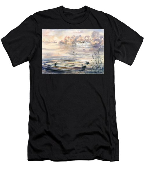 Men's T-Shirt (Athletic Fit) featuring the painting Dawn At Lake Wendouree by Ryn Shell