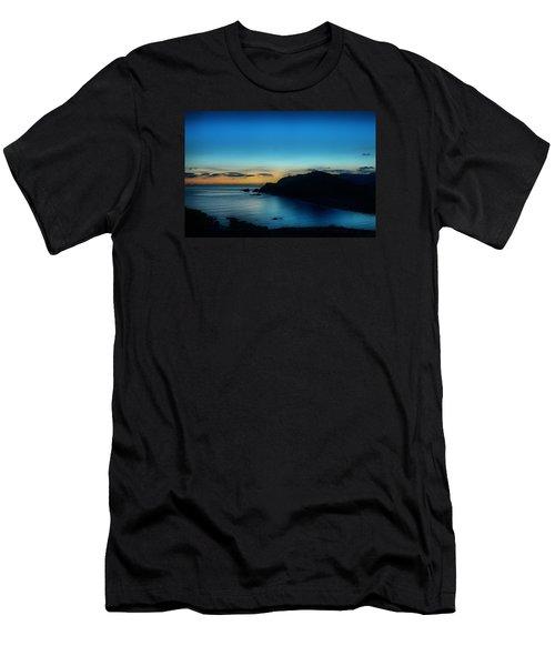 Dawn Blue In Mediterranean Island Of Minorca By Pedro Cardona Men's T-Shirt (Slim Fit) by Pedro Cardona