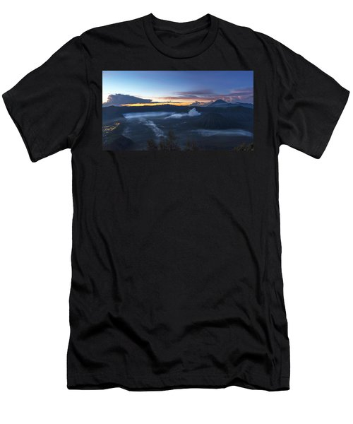 Men's T-Shirt (Athletic Fit) featuring the photograph Dawn Breaking Scene Of Mt Bromo by Pradeep Raja Prints