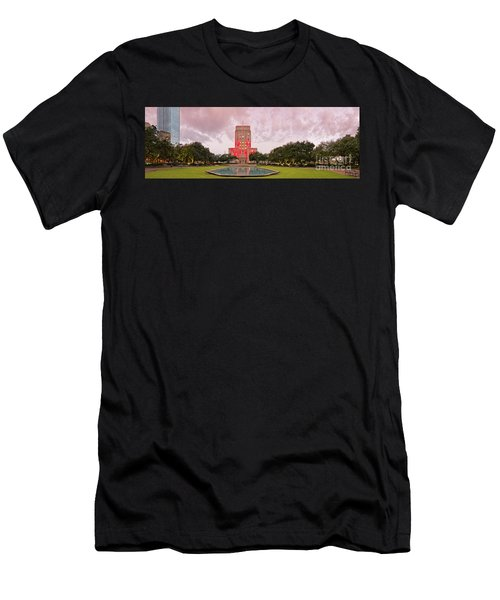 Dawn Panorama Of Houston City Hall At Hermann Square - Downtown Houston Harris County Men's T-Shirt (Athletic Fit)