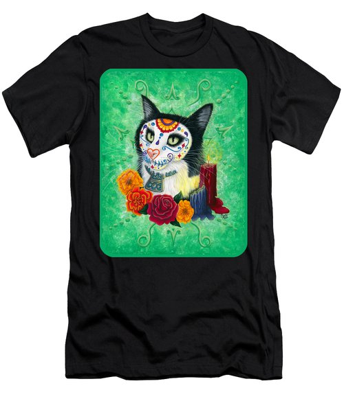 Men's T-Shirt (Athletic Fit) featuring the painting Day Of The Dead Cat Candles - Sugar Skull Cat by Carrie Hawks