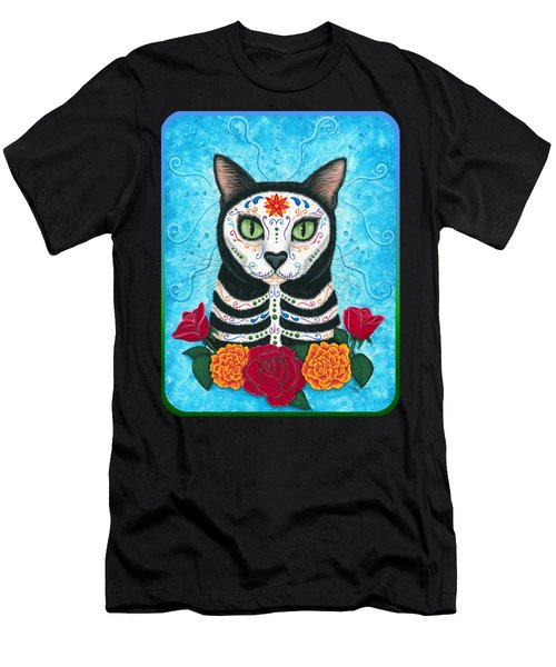 Day Of The Dead Cat - Sugar Skull Cat Men's T-Shirt (Slim Fit) by Carrie Hawks