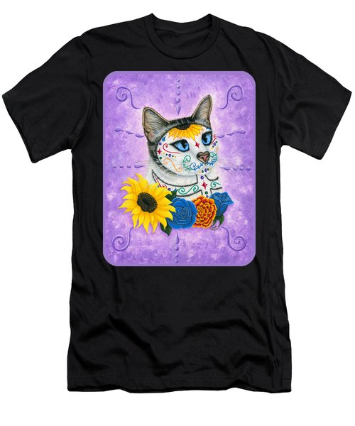 Day Of The Dead Cat Sunflowers - Sugar Skull Cat Men's T-Shirt (Athletic Fit)