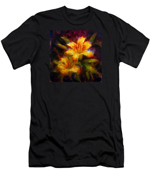 Men's T-Shirt (Slim Fit) featuring the painting Daylily Sunshine - Colorful Tiger Lily/orange Day-lily Floral Still Life  by Karen Whitworth